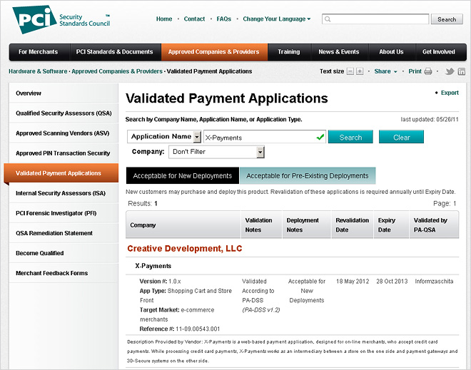 X-Payments in the list of Validated Payment Applications