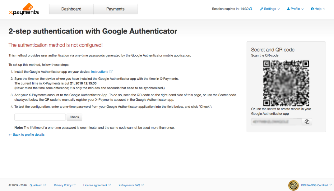 Two-factor authorization, screen 2