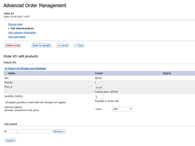 Create Orders In Back-End