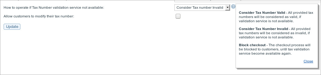Tax number validation setting