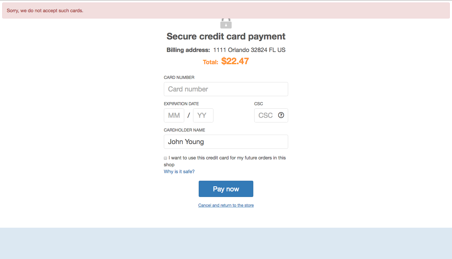 X-Payments error handling, screen 3