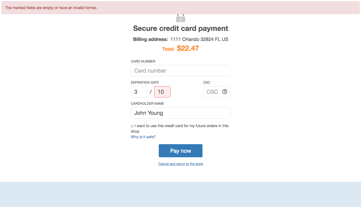 X-Payments error handling, screen 2