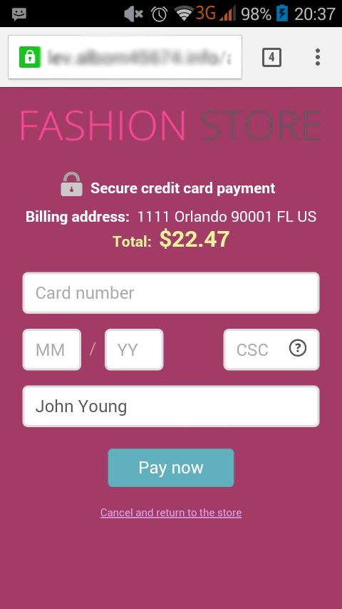 X-Payments interface, screen 4