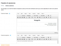 Edit email notifications in X-Cart: change header and signature