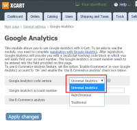 Universal Analytics: Google Abalytics module of X-Cart 4 Classic