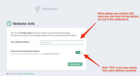 Positionly: your website info