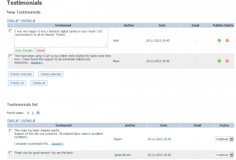 testiminials module: admin area