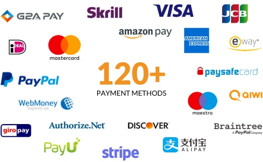 120+ payment methods are supported in X-Cart