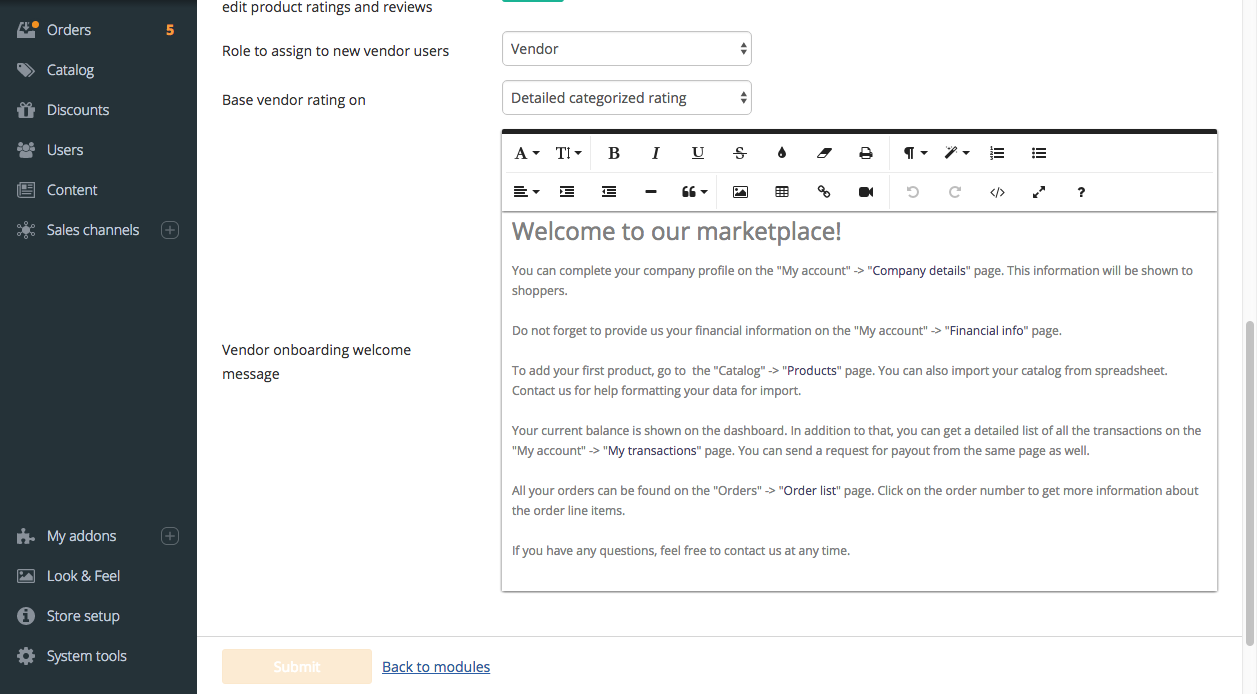 Edit vendor welcome message