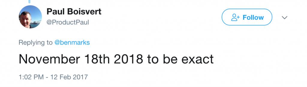 Paul Boisvert's tweet about the exact date of Magento 1 sunset