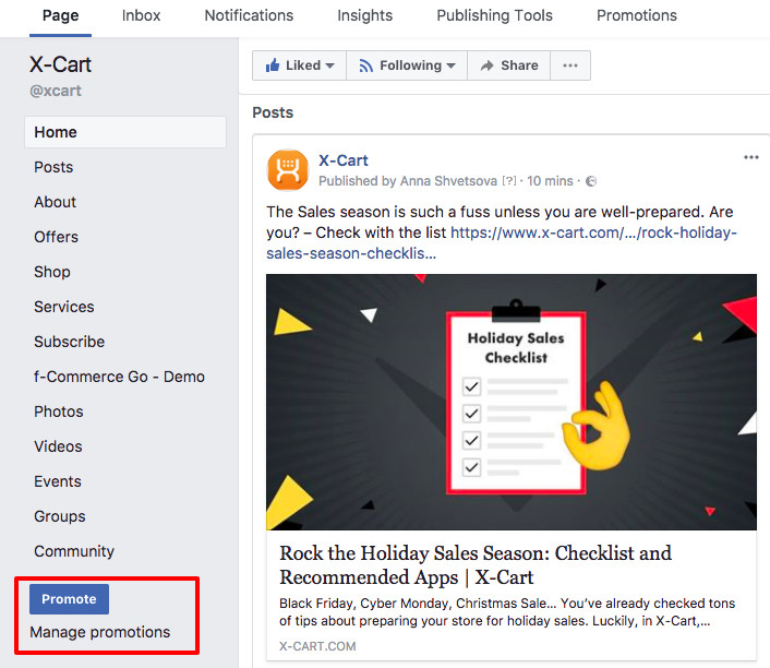 Facebook campaign with Promote button