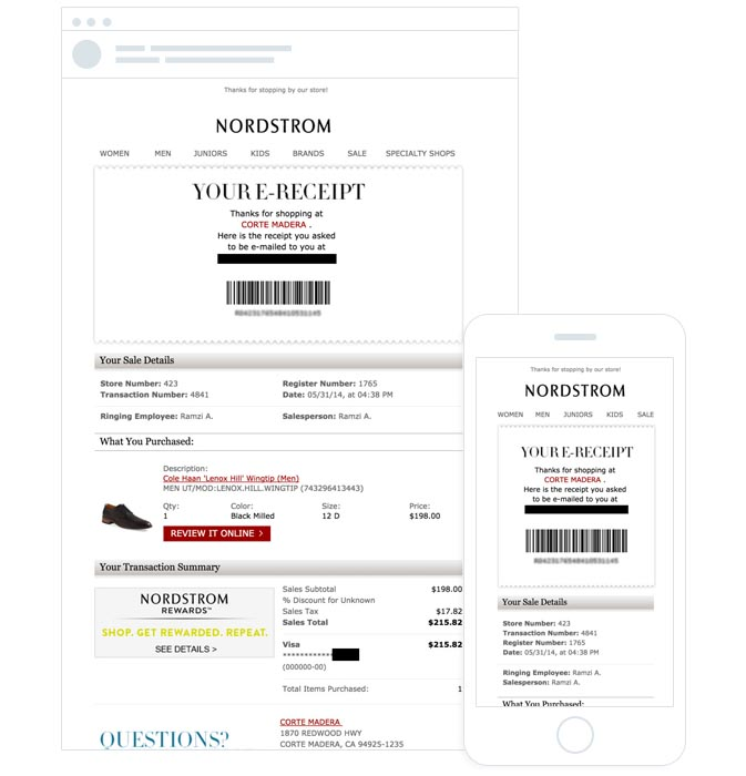Nordstrom mobile-optimized transactional email