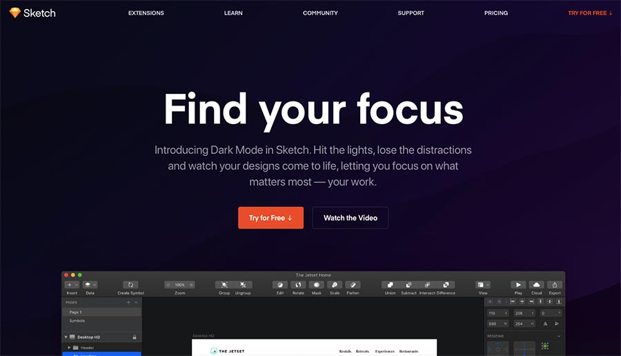 Sketch web design tool